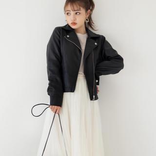 グレイル(GRL)の新品 シンプル ライダースジャケット 黒(ライダースジャケット)