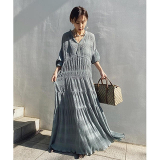 Ameri VINTAGE - SHIRRING PLEATS DRESS【Sサイズ】