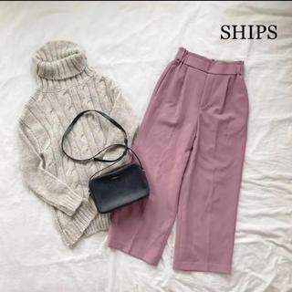 SHIPS - 《SHIPS》ハイウエストワイドパンツ くすみピンク シップススラックス