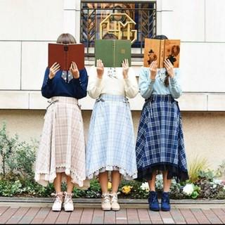 axes femme - 新品未使用 アクシーズ マドラスチェック裾切替スカート M 紺