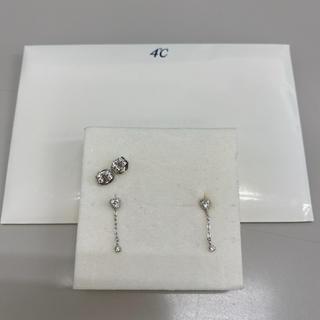 4℃ - 4℃ k18WhiteGOLD ダイヤモンド付き ピアス