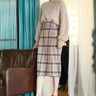 ミスティウーマン(mysty woman)のチェックスカート(ひざ丈スカート)