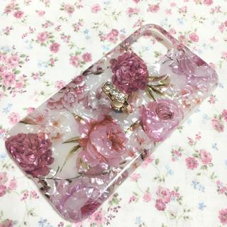 【新品】薔薇 花柄 キラキラ リング付き iPhone11ケース