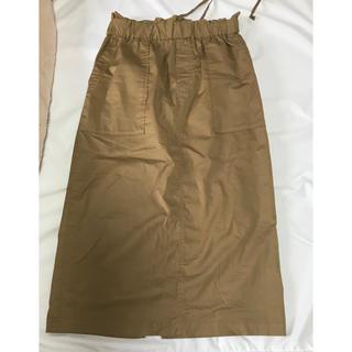 コーエン(coen)のコーエンcoen コットンタイトスカート ミモレ丈 77cm ブラウン(ロングスカート)