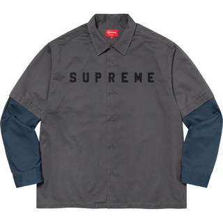 Supreme - M Supreme 2-Tone Work Shirt dark grey