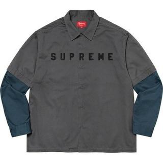 Supreme - Supreme 2-Tone Work Shirt Dark Grey / S