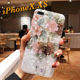 iPhoneXケース iPhoneXSケース 花柄シェル 指リング 韓国