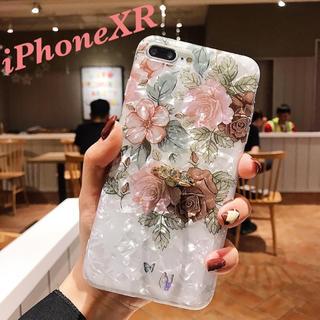 iPhoneXRケース 花柄シェル 指リング iPhoneケース 韓国