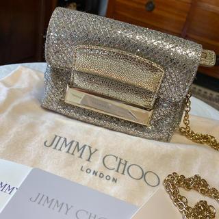 JIMMY CHOO - 外見美品!ジミーチュウ チェーンショルダーバッグ ポシェット シルバー キラキラ