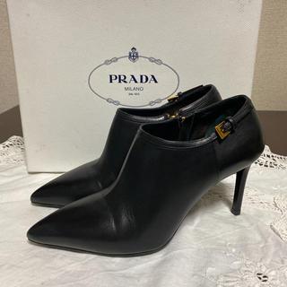 プラダ(PRADA)の美品!PRADA プラダ ショートブーツ ブーティー 23cm レザー ブラック(ブーティ)
