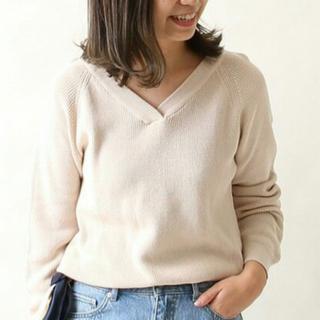 コーエン(coen)の季節の変わり目に最適!綿ニット とても綺麗な コーラルピンク Vネック(ニット/セーター)