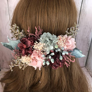 ヴァイオレットピンク系♡髪飾り ヘッドドレス 結婚式 前撮り 成人式 卒業式