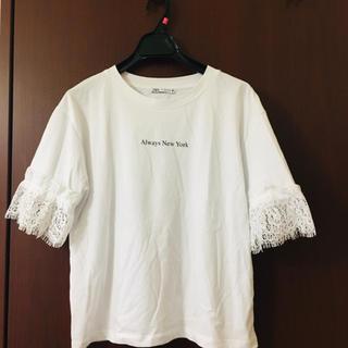 ZARA - ザラ  袖レースTシャツ S