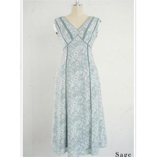 snidel - Her lip to / Trimmed Floral Dress (Sage)