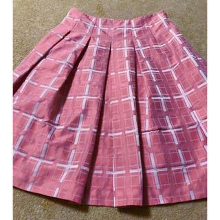 アナイ(ANAYI)のアナイ スカート 36 ピンク チェック フレアスカート プリーツスカート(ひざ丈スカート)