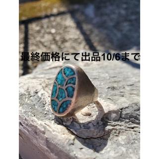ダブルアールエル(RRL)の超希少!ナバホ ビンテージインレイターコイズリング NAVAJO ZUNI(リング(指輪))