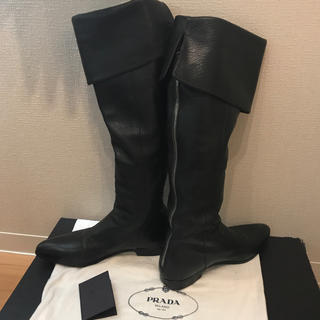 プラダ(PRADA)のPRADA 羊革製 ロングブーツ 黒(ブーツ)