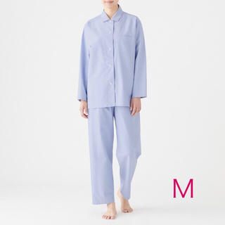 MUJI (無印良品) - 無印良品 『脇に縫い目のないオックスフォードパジャマ(ブルー  Mサイズ)』