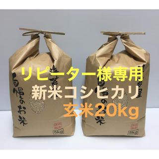 リピーター様専用 新米コシヒカリ玄米20kg コメントいだければ専用出品致します(米/穀物)