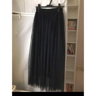 プリーツスカート チュールスカート 黒ブラック
