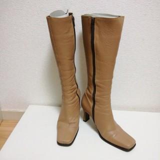 バークレー(BARCLAY)のロングブーツ(牛革) 22.5センチ ベージュ(ブーツ)