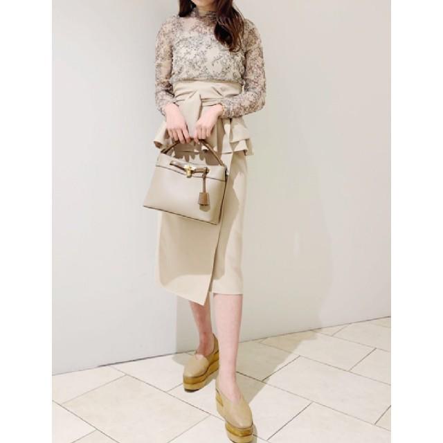 snidel(スナイデル)の雑誌掲載SNIDELスナイデルリボンディテールポンチスカート レディースのスカート(ひざ丈スカート)の商品写真