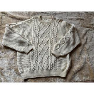 サンタモニカ(Santa Monica)のFisherman knit ヴィンテージ 古着  ニット ホワイト 白(ニット/セーター)