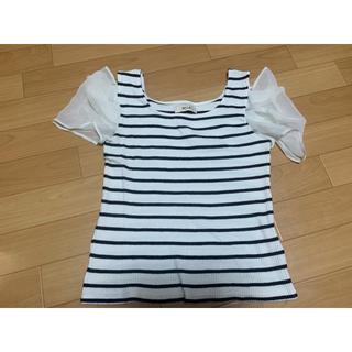 ミーア(MIIA)のmiia シースルー ボーダー Tシャツ トップス F ネイビー ホワイト(Tシャツ(半袖/袖なし))