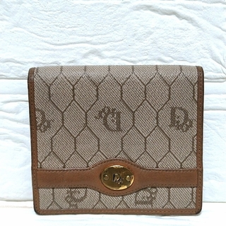 ディオール(Dior)のDior クリスチャンディオール 折り財布 コンパクト ベージュ ヴィンテージ(折り財布)