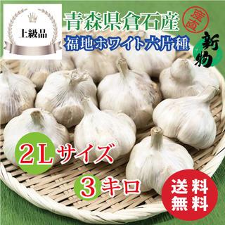 【上級品】青森県倉石産にんにく福地ホワイト六片種 2Lサイズ 3kg(野菜)
