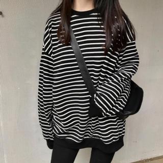 韓国ファッション 白黒 ボーダー ビックシルエット ロングTシャツ ロンT