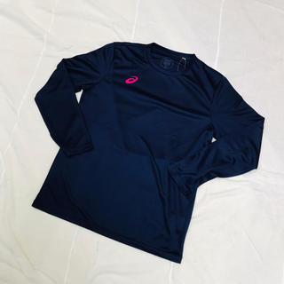 アシックス(asics)の新品 タグ付き未使用品 アシックス Mサイズ 長袖Tシャツ 紺ネイビー(Tシャツ/カットソー(七分/長袖))