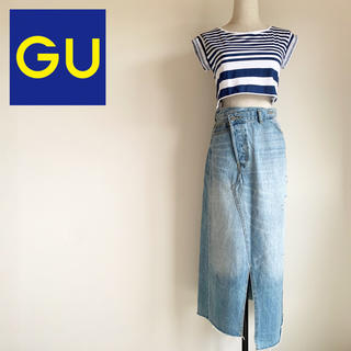GU - 完売品『GU』デニム クロス フロント ミディ スカート 63ブルー Mサイズ