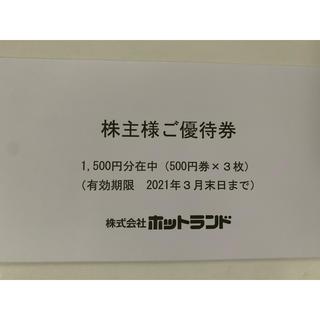 1500円分 ホットランド株主優待(フード/ドリンク券)