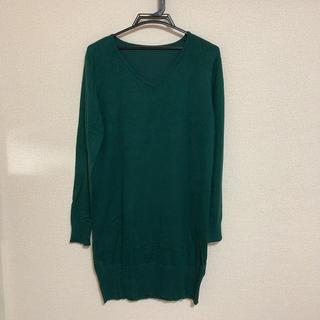 グリーンワンピース 秋服 Lサイズ 大きいサイズ ゆったりサイズ ロング丈