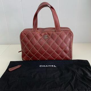 CHANEL - CHANEL シャネル ワイルドステッチ レザー ハンドバッグ 赤茶