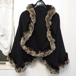 ラビットファートリミングとドレープがかわいい 着物用ケープ ショール ストール(着物)