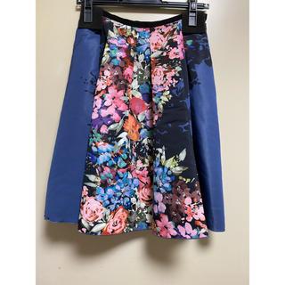ランバンオンブルー(LANVIN en Bleu)のLANVIN  en  Blue フラワープリントスカート 36サイズ(ひざ丈スカート)