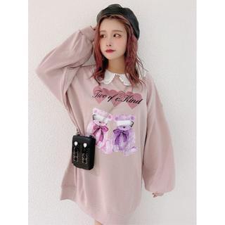 アンクルージュ(Ank Rouge)の20AW 完売品 Ank Rouge カラフルBEARプルオーバー ピンク(Tシャツ(長袖/七分))