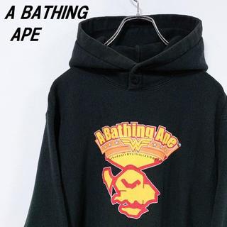 A BATHING APE - 【A BATHING APE】BAPE ロゴプリント パーカー 黒 M