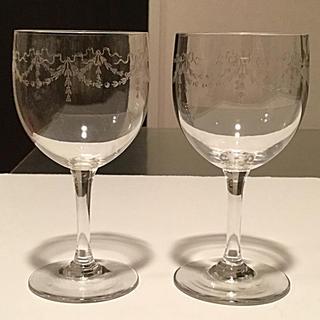 Baccarat - ☆極希少☆ オールドバカラ  リボンガーランド ポートワイングラス 2脚 ②
