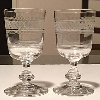 Baccarat - ☆極希少☆ オールドバカラ  幾何学装飾 ポートワイングラス 2脚