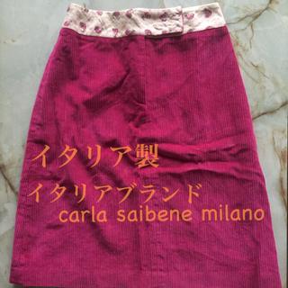 イタリア製 ヨーロッパ コーデュロイ スカート 秋 ショッキングピンク 古着