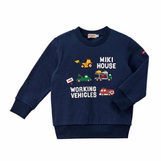 mikihouse(ミキハウス)の【新品】ミキハウス はたらくくるま トレーナー 紺 100 キッズ/ベビー/マタニティのキッズ服男の子用(90cm~)(Tシャツ/カットソー)の商品写真