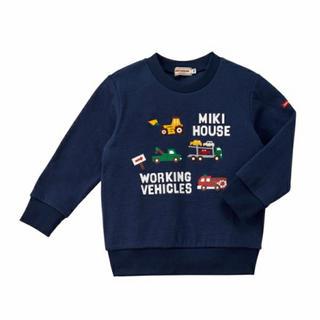 mikihouse - 【新品】ミキハウス はたらくくるま トレーナー 紺 100