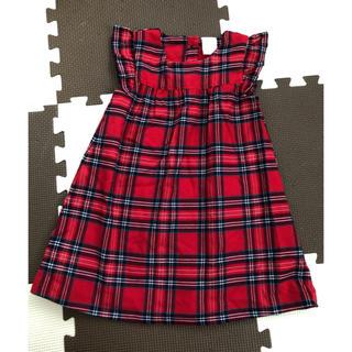 エイチアンドエム(H&M)の【送料無料】H&M 赤色 チェック柄 ワンピース サイズ80(ワンピース)