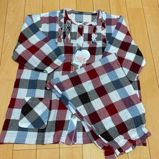 しまむら - レディースパジャマ チェック柄 中赤 4Lサイズ