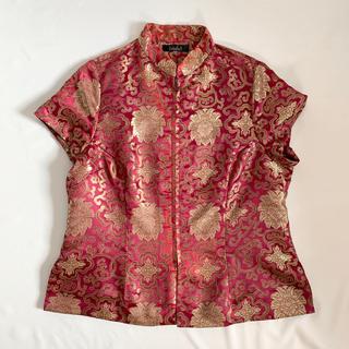 ロキエ(Lochie)のVintage 90s ジップ チャイナシャツ(シャツ/ブラウス(半袖/袖なし))