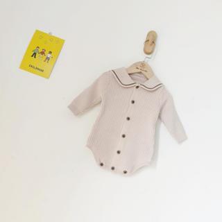 petit main - ★韓国子供服★セーラー襟ニットリブロンパース