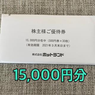 【たなたな様専用】ホットランド 株主優待 15,000円分 銀だこ(フード/ドリンク券)